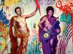 Bowie & Prince by Srinjoy - Mixed Media on Canvas sized 40x30 inches. Available from Whitewall Galleries